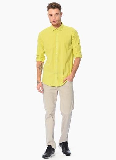 Que Slim Fit Uzun Kollu Gömlek Yeşil